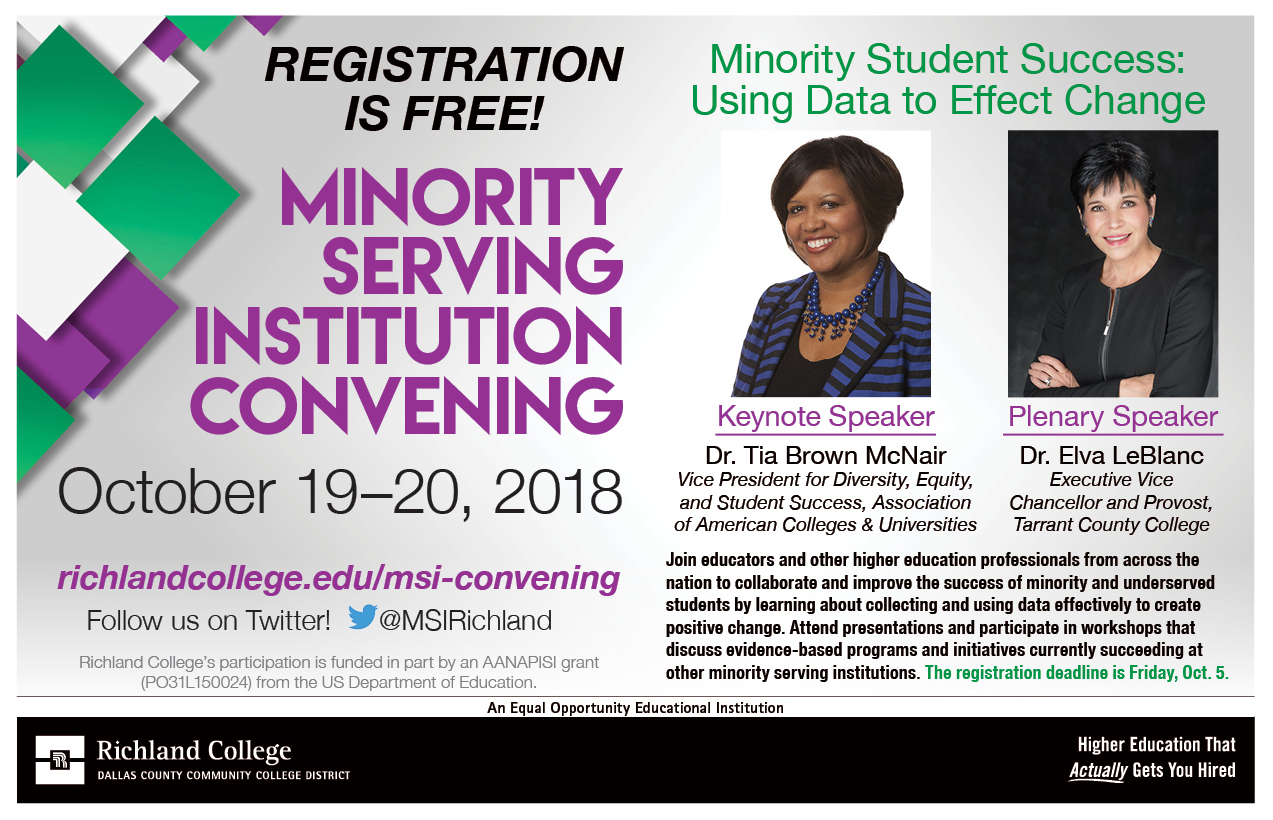 graphic advertisement for 2018 MSI Convening at Richland College, Dallas, TX, on October 19-20.