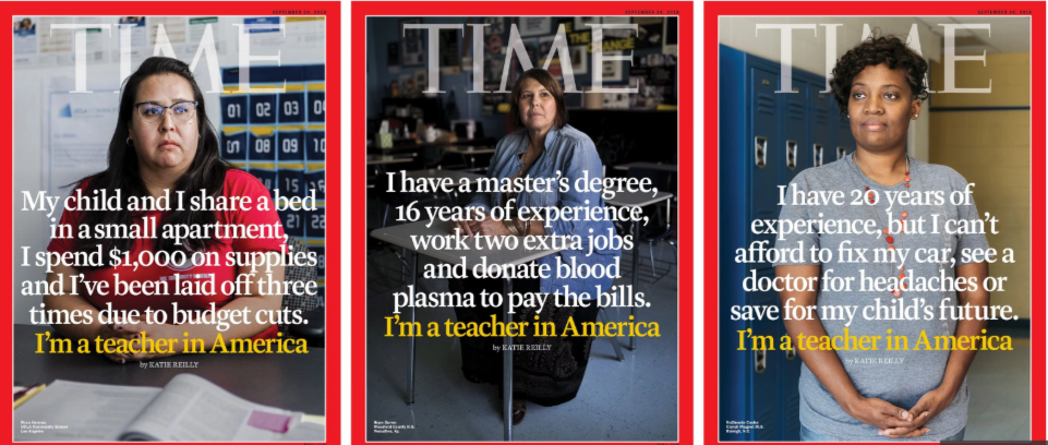 The cover of Time Magazine shows three teachers and points out their hardships in making financial ends meet due to low pay.