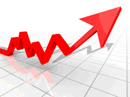 Graphic with arrow going upwards