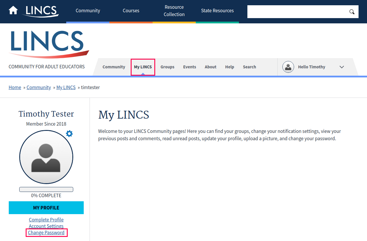 Screenshot of My LINCS and Change Password links