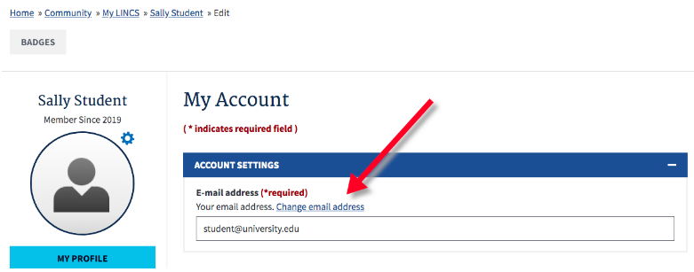 "Click ""Change Email Address"" to edit your email address"