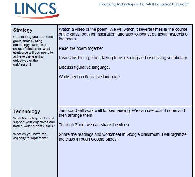 This is the second of five pages of Jane Von Bergen's technology integration plan to fulfill the culminating activity for the Integrating Technology Course. in the culminating