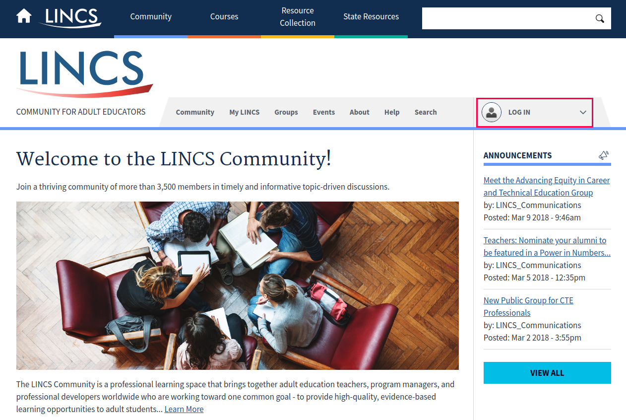 A view of the Community homepage with the log in link highlighted