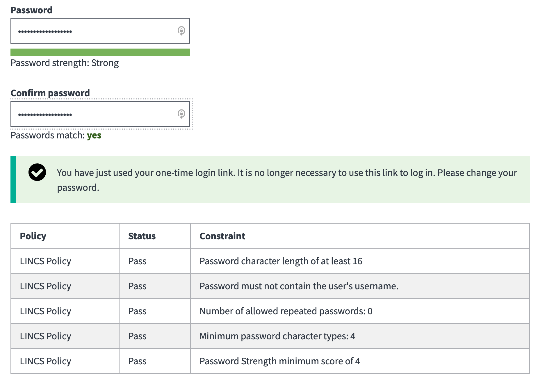 A view of the account settings password fields